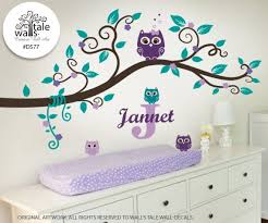 Sale Super Cute Blossom Branch Wall Decal With 4 Little Baby Owls And Name Initial Original P Baby Girl Nursery Purple Purple Nursery Girl Girl Nursery Pink