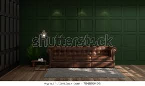 vintage empty green wall modern mid