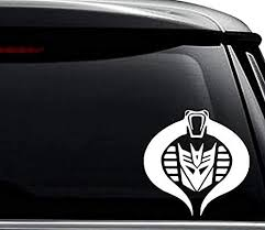 Amazon Com Transformer Decepticon Cobra Commander Vintage Decal Sticker For Use On Laptop Helmet Car Truck Motorcycle Windows Bumper Wall And Decor Size 6 Inch 15 Cm Tall Color Gloss White