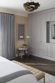 master bedroom with gray built in