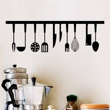 3d Vivid Kitchen Tools Restaurant Wall Stickers Decals Kitchen Decoration Home Decor Diy Wall Art Paper Mural Cooking Utensils Wall Stickers Aliexpress