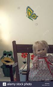 Childrens Play Room Baby Doll Frog Butterfly Decals On Wall Stock Photo Alamy