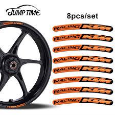 Jump Time 13cm X 1 3cm 8pcs For Ktm Racing Rim Edge Stickers Wheel Stripes Set Car Bicycle Motorcycle Moto Decal Car Styling Car Stickers Aliexpress