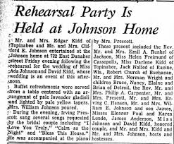 David Kidd and Ada Johnson Rehearsal Party - Newspapers.com