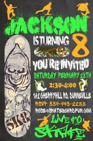 Skateboard Party Birthday Invitation Personalized Chalkboard