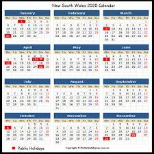 2020 Public Holidays NSW