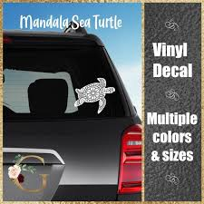 Sea Turtle Mandala Car Window Decal Yeti Cup Decal Gift For Her Car Sticker In 2020 Decals For Yeti Cups Cup Decal Window Decals
