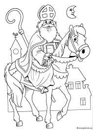 Sinterklaas Met Vrolijk Paard Kleurplaat