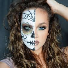 half sugar skull makeup by insramer