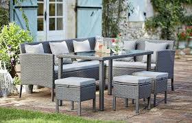 garden with rattan garden furniture