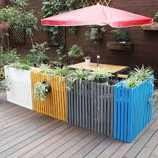 Preservative Outdoor Wood Flower Box In Front Of Outdoor Cafe Restaurant Partition Wall Fence Fence Flower Planters Pots