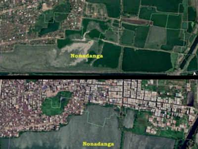 "Image result for Satellite maps show massive loss of East Kolkata Wetlands"""