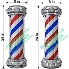 Amazon Com Pair Of 16 Tall Barber Pole Vinyl Decals For Salon Shop Window Wall Nice Graphic Office Products