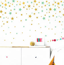 Amazon Com Gold And Mint Stars Wall Vinyl Decal Decor Nursery Adhesive Star Stickers For Kids Baby Nordic Stars Bedroom Decoration Arts Crafts Sewing