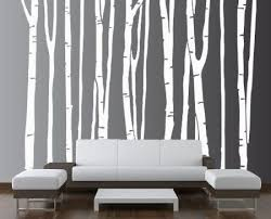 White Tree Idea For Living Room Outline The Design Fill With Painter S Tape Paint Over It Let Dry Birch Tree Decal Birch Tree Wall Decal Large Wall Decals