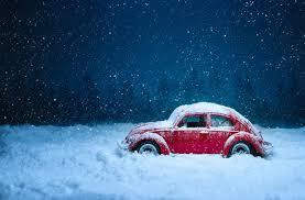 toy vw car stuck in the snow 5k retina