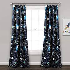 Amazon Com Lush Decor Universe Curtains Outer Space Stars Galaxy Planet Rocket Pattern Room Darkening Window Panel Set For Living Dining Bedroom Pair 84 X 52 Navy 84 X 52 Home Kitchen