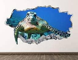 Amazon Com Ocean Turtle Wall Decal Art Decor 3d Smashed Animal Sticker Poster Kids Room Mural Custom Gift Bl469 70 W X 40 H Arts Crafts Sewing