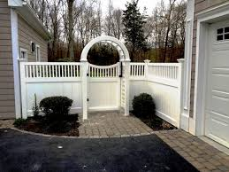 Vinyl Privacy Fencing With An Arbor And Walk Gate Vinyl Privacy Fence Privacy Fences Patio Fence