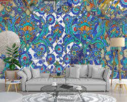 Persian Floral Art Contemporary Mediterranean Wall Mural Etsy