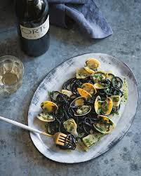 Squid ink pasta with clams