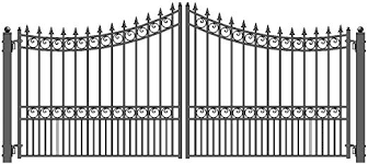 Amazon Com Aleko Dg16mosd Moscow Style Dual Swing Galvanized Steel Driveway Security Gate 16 X 6 Feet Black Home Kitchen