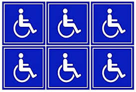Amazon Com 6 Pack Of Disabled Wheelchair Symbol Ada Compliant Handicap Access 3 X 3 Inch Blue Stickers 3m Vinyl Decals Office Products