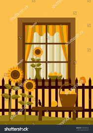 Vector Picket Fence Sunflowers Apples Basket Stock Vector Royalty Free 109462442