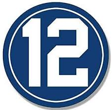 Amazon Com Jr Studio 4x4 Inch Round 12 Indianapolis Colts Colors Sticker Andrew Luck Number 12 Vinyl Decal Sticker Car Waterproof Car Decal Bumper Sticker Kitchen Dining