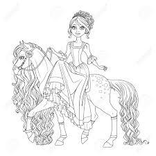 Leuke Prinses Op Paard Met Lange Manen Geschetst Geisoleerd Op Een