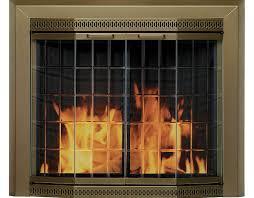 fireplace glass door antique brass