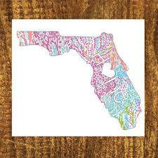 Florida Fl Home Script Lilly Inspired Print Vinyl Car Window Decal 4 X 5 Stickers