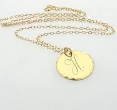 script initial pendant necklace gold