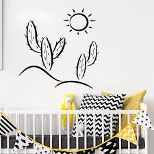 Cactus Sun Nursery Wall Decal Desert Wall Sticker For Bathroom Removable Vinyl Art For Kids Rooms Living Room Decoration D750 Wall Stickers Aliexpress