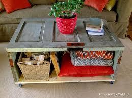 salvaged door coffee table storage