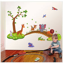 Cartoon Animals On Train Wall Stickers Decals Kids Removal Baby Room Nursery Jj For Sale Online Ebay
