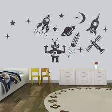 Space Wall Sticker For Boy Room Decor Outer Space Wall Decal Rocket Ship Planet Wall Decal Astronaut Kids Bedroom Decor Hy666 Wall Stickers Aliexpress