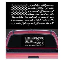 Pledge Of Allegiance Flag Rear Window Sticker Custom Sticker Shop