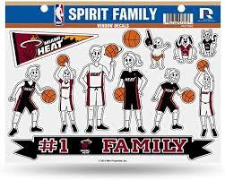 Amazon Com Football Fanatics Nba Miami Heat Family Decals Sheet Basketball Equipment Sports Outdoors