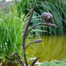 kingfisher on reeds garden sculpture