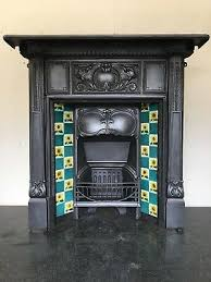 cast iron victorian tiled fireplace
