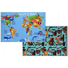 Hr Double Sided Baby Mat 7x10 Reversible Kids Rugs World Map Rugs For Boys Girls Baby Play Room Bedroom Fun Gift Construction Tool Toys Carpet Walmart Com Walmart Com