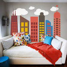 Amazon Com Modern City Wall Decal Bold Colorful City Skyline Wall Sticker Vinyl Geometric City Wall Graphic Home Art Decor C 1 Outline 2 Windows Dark Red 2 Outline Brown 3 6outline 1 5 Windows Orange 4 Outline 6