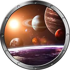 12 Porthole Outer Space Window Solar System 1 Round Silver Instant View Wall Graphic Kids Sticker Room Decal Art Decor Small Baby B01d4z6cou