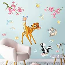 Amazon Com Decalmile Woodland Animals Wall Stickers Deer Squirrel Birds Flowers Wall Decals Kids Room Baby Nursery Wall Decor Furniture Decor