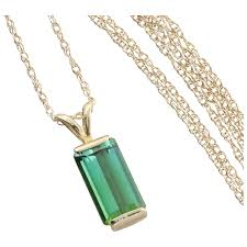 green tourmaline necklace with 18 inch