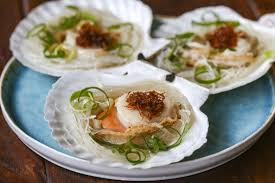 Chinese steamed scallops with XO sauce ...