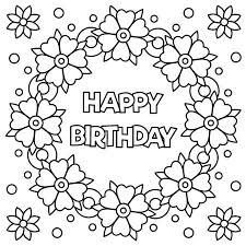 Floral Wreath For Coloring Page With Happy Birthday Vector