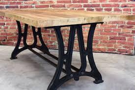 cast iron table base with mango wood