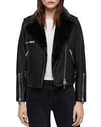 higgens faux fur lined leather biker
